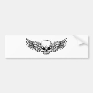 Winged Skull Vintage Etched Woodcut Style Bumper Sticker