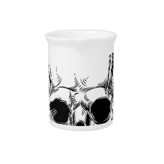 Winged Skull Vintage Etched Woodcut Style Pitcher