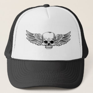 Winged Skull Vintage Etched Woodcut Style Trucker Hat