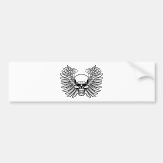 Winged Skull Vintage Woodcut Engraved Style Bumper Sticker
