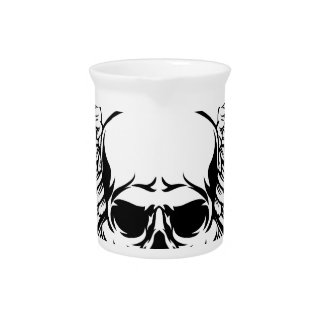 Winged Skull Vintage Woodcut Engraved Style Pitcher
