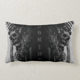 WINGED SKULLS Macabre Facade Custom Name Lumbar Pillow