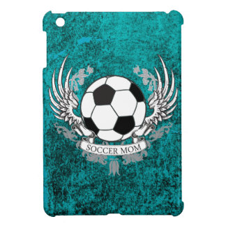 Winged Soccer Mom Teal Distressed Stone Case iPad Mini Cases