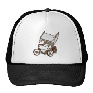 Winged Sprint Car White Colored Cap