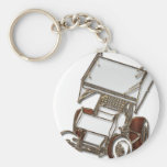 Winged Sprint Car White Colored Key Chains