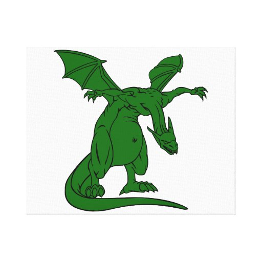 winged standing mean dragon green.png gallery wrap canvas