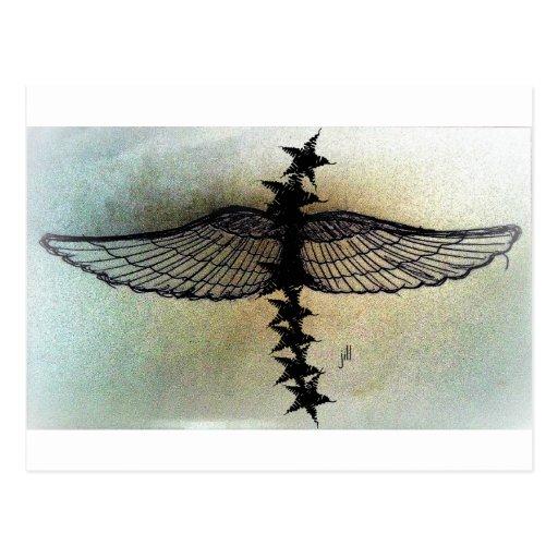 Winged Stars in flight, matte print by jill Post Card