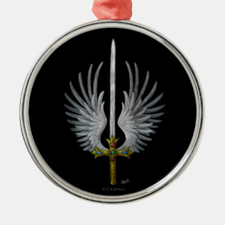 Winged Sword Silver-Colored Round Decoration