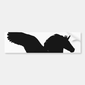 Winged Unicorn Silhouette Bumper Sticker