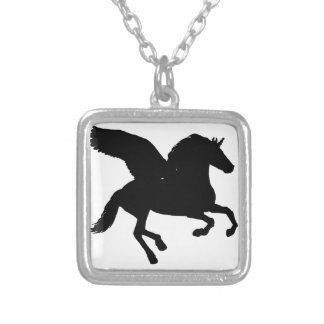 Winged Unicorn Silhouette Silver Plated Necklace