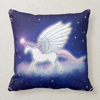 Winged unicorn with stars cushion