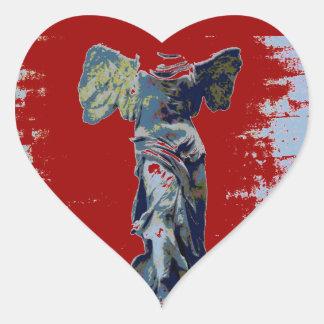 Winged Victory angel Speak (Blue) Heart Stickers