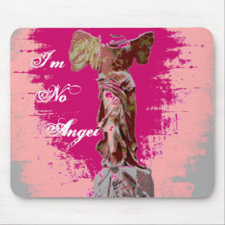 Winged Victory Angel Statue Pink Mouse Pad