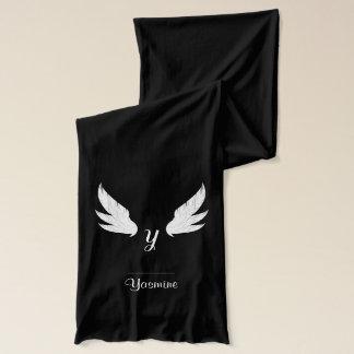 Winged White Monogram   Scarf