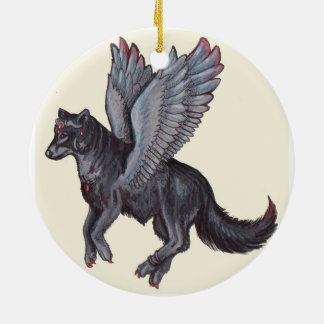 Winged Wolf Christmas Ornament