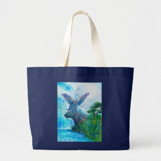 Winged Wolf Dog Wild Animals Large Tote Bag