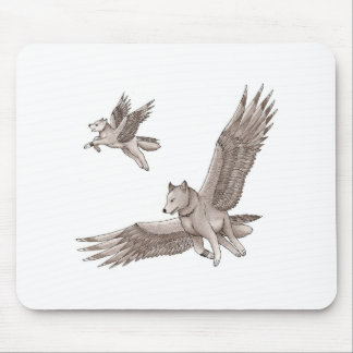 Winged wolf mouse mat