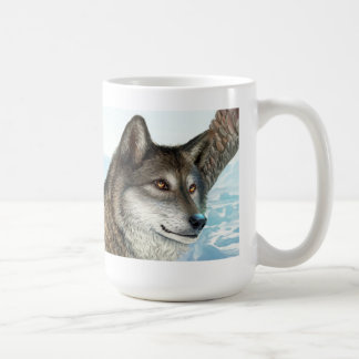 Winged wolf realistic painting coffee mugs