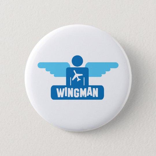 wingman pilot design 6 cm round badge