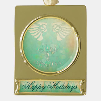 Wings,abstract digital painting, multi green paste gold plated banner ornament