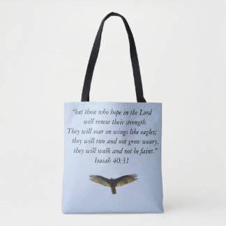 Wings As Eagles Biblical Quote Tote Bag