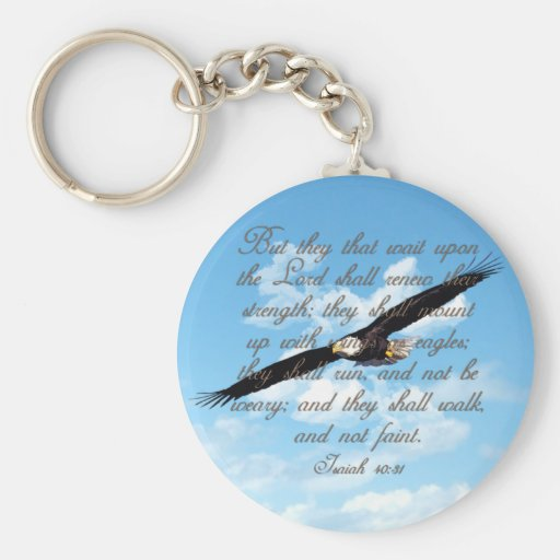 Wings as Eagles, Isaiah 40:31 Christian Bible Keychains