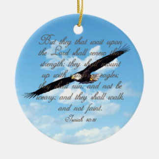 Wings as Eagles, Isaiah 40:31 Christian Bible Round Ceramic Decoration