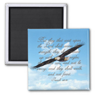 Wings as Eagles, Isaiah 40:31 Christian Bible Square Magnet