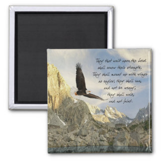 Wings As Eagles Isaiah 40:31 Square Magnet