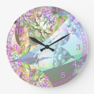 Wings of Angels Amethyst Crystal Abstract Fractal Wallclocks