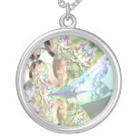 Wings of Angels – Celestite & Amethyst Crystals Round Pendant Necklace