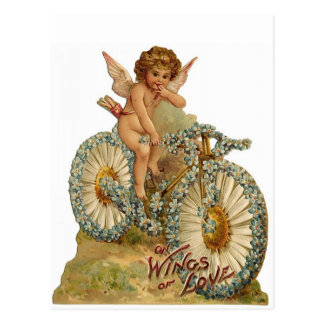 Wings of Love Cupid on A Bicycle Postcard