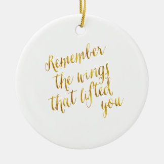 Wings That Lifted You Quote Faux Gold Foil Christmas Ornament