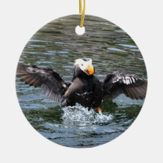 Wings Wide Tufted Puffin Round Ceramic Decoration