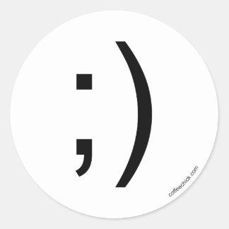 Wink emoticon classic round sticker