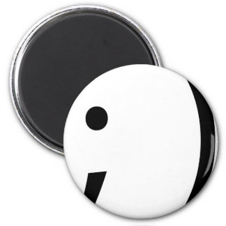 wink face! 6 cm round magnet