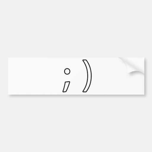 Wink face bumper sticker