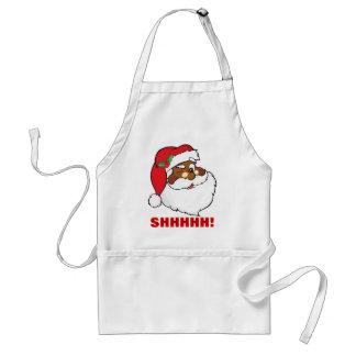 Winking Black Santa Keeping Christmas Secrets Apron