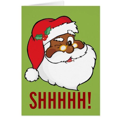 Winking Black Santa Keeping Christmas Secrets Card