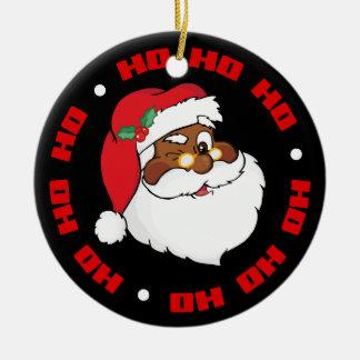 Winking Black Santa Keeping Christmas Secrets Round Ceramic Decoration