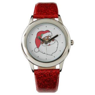 Winking Black Santa Keeping Christmas Secrets Watch