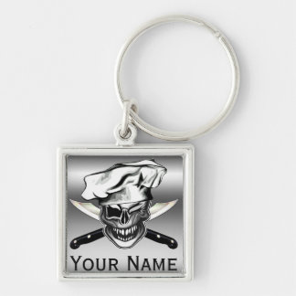 Winking Chef Skull Key Ring