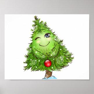 Winking Christmas Tree Poster
