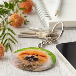 Winking Chuckling Funny Dog Basic Round Button Key Ring