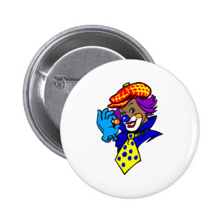 Winking Clown with Marble 6 Cm Round Badge