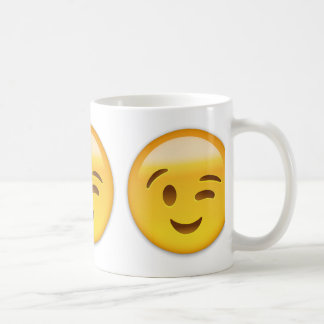 Winking Face Emoij Basic White Mug