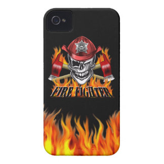 Winking Firefighter Skull and flaming Axes iPhone 4 Covers