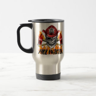 Winking Firefighter Skull and flaming Axes Stainless Steel Travel Mug