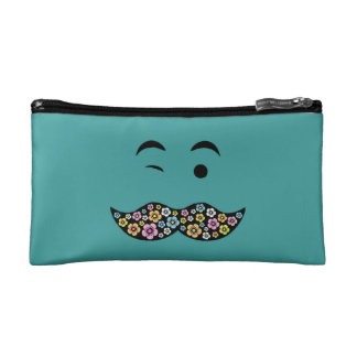 Winking Funky Floral Hippy Mustache Makeup Bag
