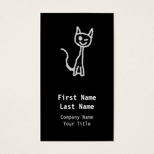 Winking Grey Cat. Business Card